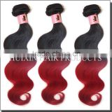 Brazilian Human Body Wave Hair Extensions,Red Ombre Hair Weave