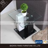 Black MDF glass top living room corner table