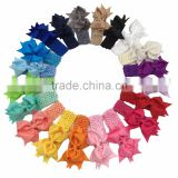 Cheer Leading Grosgrain Hair Ribbon Bows with Crochet Baby Headbands Hairbands Elastic Headbands