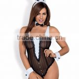 Sexy lingerie set - Bunny costume: teddy, bow-tie collar, shirt cuffs, ears - black