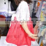 beautiful girl boutique chiffon sleeve&underskirt cotton lace red dress with big tie back