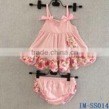 Boutique Newborn Girls Cotton Clothes Infant Toddler Babies Swing Top 2 pieces Sets with Ruffled Bloomers IM-SS014