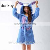 Winter ladies Coral Velvet Flannel bath robe Cartoon Homewear With Hat Pyjama Sleepwear Pajamas for women