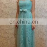 Blue Long Bridesmaid Dresses Floor Length Strapless Lace Appliques Brides Maid Dresses Elegant Wedding Party Gowns Dresses