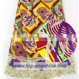 Beading Embroidery wax with guipure lace/ankara with cord/ african wax with laces fabric with stones
