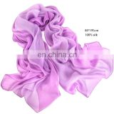 New Arrival Pure color 43% natural silk 57% polyester Gradient scarves With 4 Sides Gold Thread