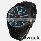 New Big Men Custom Black Rubber Band Promotional Watches