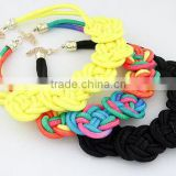 Pretty Chinese knot Fluorescent Handmade Knit Rope Cotton Woven punk Necklace