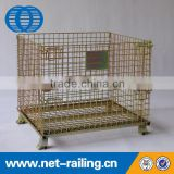 Welding collapsible warehouse storage metal pallet size steel container