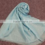 Fashionable voile slubbed pure color gold printed long scarf muslim hijab shawl twill silk scarf