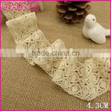 "Factory Customized 1.76"" High quality fashion 100% cotton crochet lace trimming fabric for garment"