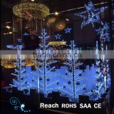 Shopping mall decoration 2D metal led light tree motif christmas show window display lighting
