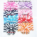 Wholesale baby stretchy cotton stripe bow headwrap,printed color turban lovely girl hairband