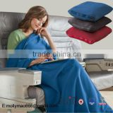 warm feeling plain dyed zipped Microfleece Travel Blanket                                                                         Quality Choice