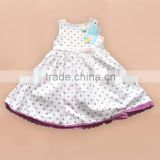 cotton children summer girls dresses printing+lace summer dresses