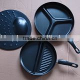Carbon steel non stick 3pcs / 3 pcs divide division tri - pan premier frying pan set