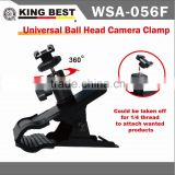 "KINGBES Photo Studio Super Clamp Holder Flash Clip Mount With Mini Ball Tripod Head 1/4"" Screw For Backdrop Flash Light Stand"
