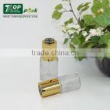 Clear Glass Bottle 30ml; Round Glass Dropper Bottle; Transparent Glass Container with golden screw dropper