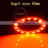Auto parts 5050 smd White PCB 60mm full circle angel eyes with remote control vehicle car angel eyes ring lights