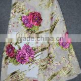 African cream silk lace fabric with velvet flowers in China                                                                         Quality Choice