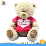 customize light brown plush teddy bear with red embroidery t-shirt                                                                         Quality Choice