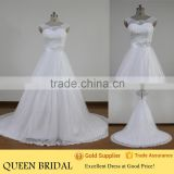 Latest Style Sleeveless Button Back Appliqued Lace Beading Sash Aliexpress Wedding Dresses