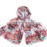 New Fashion Colorful Polyester Floral Printed Scarf Shawl Pareo Sarong SS2016