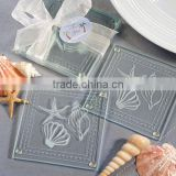 Wholesale custom ocean series glass coaster, beach themed glass coasters for Beach Resort souvenir gift