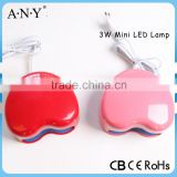 Professional Cheap Mini Red Heart Shape 3W OEM Nail Art Equipment Gel Nail Art Curing Light Lamp Led Nail