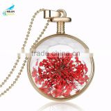 Wholesale newest dried flower pendant women gold memory necklace crystal Photo frame glass locket pendant