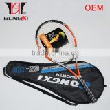 Custome tennis racket with damppener and grips