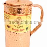 Pure Copper Hammered Pitcher Jug 1000 ML - Storage Water Home Restaurant Hotel Tableware Serveware
