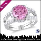 Factory supplier 925 silver cz ring, solid big stone engagement ring