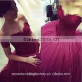 2016 New Sweetheart Lace Top Custom Made Princess Puffy Wine Red Ball Gown Prom Dress CWFp2333