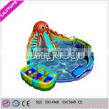inflatable water amusement park, outdoor inflatable water slide with big swimming pool for adults