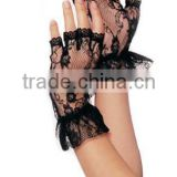 Short Black Lace Fingerless Gloves