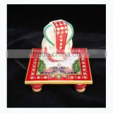 Chowki Ganesha painting marble artist home decor All Purpose gift art and craft Choki Ganpati Hindu