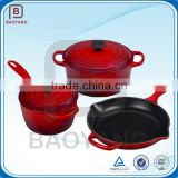 Eco-Friendly colorful coated woods cast iron cookware