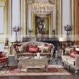 Royal French Palace Wooden Carved Single Sofa With Three Seat Sofa Set For Luxurious Villa (MOQ=1 Set)