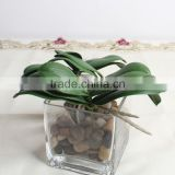 SJ013831 High quality real touch leaves from artificial phalaenopsis orchid flower/orchid leaves