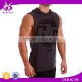 Guangzhou Shandao OEM Wholesale Casual Summer 95% Cotton 5% Spandex Men Gym Breathable Fitness With Hat Deep Cut Tank Top