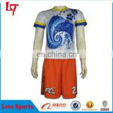 Sublimated customized football jerseys and shorts uniform soccer set