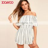 Hot sale female overalls Clothing off shoulder romper playsuits women white print ladies jumpsuits