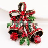 A038 Christmas Gifts Pins And Brooches For Women Small Bell Heart Rhinestone Brooch Female Bijoux