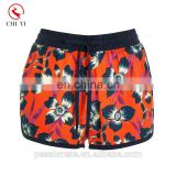 Wholesale supplier custom made oem logo printed hot 18 girls sexy board shorts 4 way stretch fabric women trunks