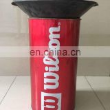 custom iron trash can with plastic cover and open top