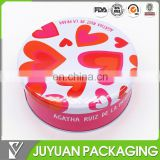 Round colored metal or plastic cosmetic tin packaging box