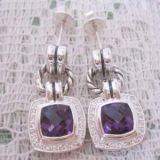 Sterling Silver Jewelry Amethyst Renaissance Earrings(E-034)