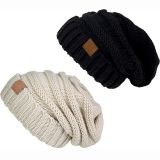 OEM Free Sample Custom Trendy Soft Oversized Cable Chunky Knit Slouchy Beanie