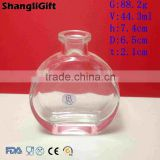 45ml Flat Round Glass Bottle With Cork Empty